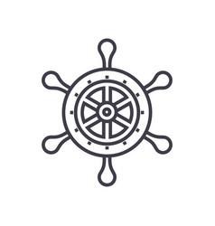 handwheel line icon sign on vector image
