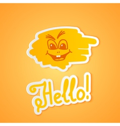 Hello on orange paper vector image