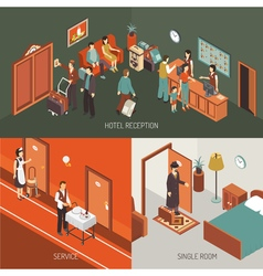 Hotel Concept Isometric Design Poster vector