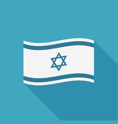 israel flag icon in flat long shadow design vector image