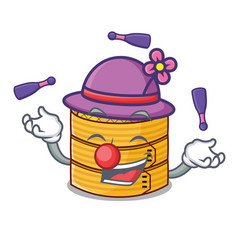 Juggling wooden steamed food container on cartoon vector