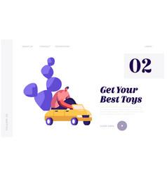 kids toys website landing page man driving little vector image