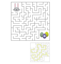 labyrinth maze game with solution easter fun vector image