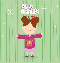 merry christmas little girl with ugly sweater and vector image