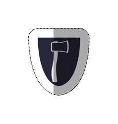 Middle shadow sticker with shield frame with ax vector