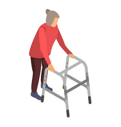 old woman walker icon isometric style vector image