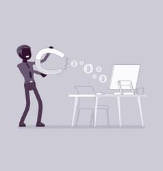online business profit black silhouette vector image