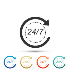 open 24 hours a day and 7 days a week icon vector image