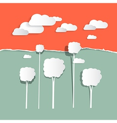 Paper Clouds and Trees - Nature vector