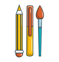 Pens pencil icon cartoon style vector