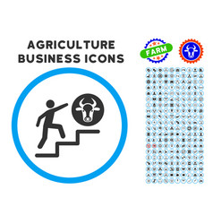 person climbing to cow rounded icon with set vector image