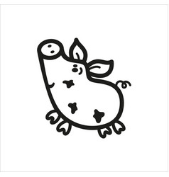 pig icon in simple monochrome style vector image