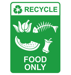 recycle sign - food only vector image