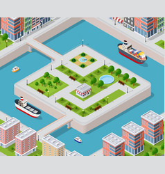 river embankment with vector image