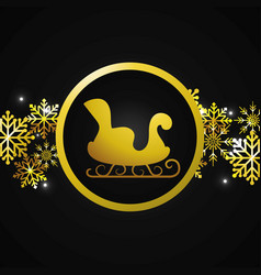 santa claus sleigh cartoon vector image