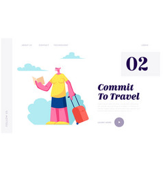 senior tourist female character with luggage vector image