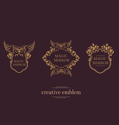 Set creative emblem of the magic mirror with an ow vector image