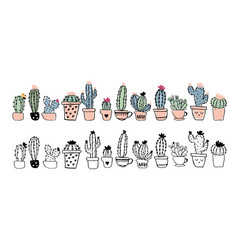 set linear drawing cacti in pots and colorful vector image