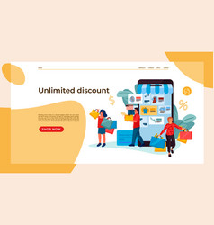 shopping people landing page trendy people vector image