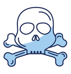 skull danger alert icon vector image