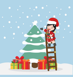 small girl with tree christmas vector image