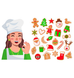 smiling cook woman show ok good sign delicious vector image