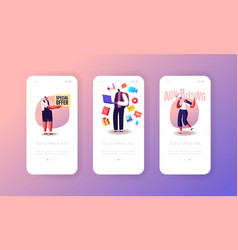 social media ads mobile app page onboard screen vector image