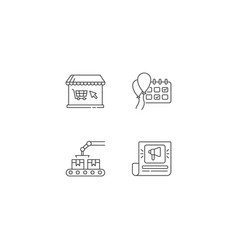 social media store pixel perfect linear icons set vector image