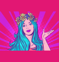 spring girl with a wreath on her head vector image