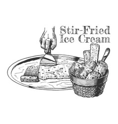 Stir-fried ice cream vector