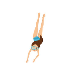 Teen girl dived into water kid in blue swimwear vector