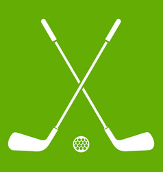 two crossed golf clubs and ball icon green vector image