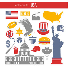 Usa culture symbol set europe travel usa vector