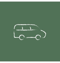 Van icon drawn in chalk vector image