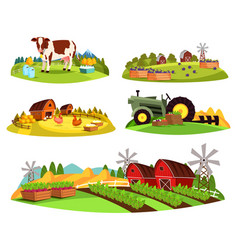village countryside views on garden and barn vector image