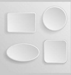 white blank buttons 3d icons vector image