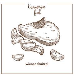 Wiener schnitzel sketch icon for european german vector