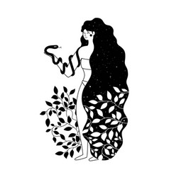 with long black hair woman plants and snake vector image