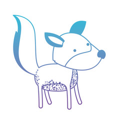 Wolf cartoon in degraded blue to purple color vector