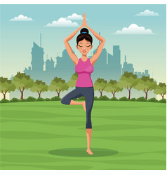 Woman posture yoga with park background vector