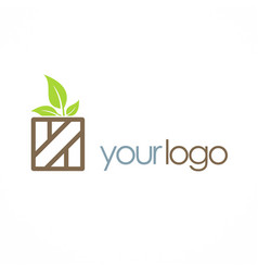 Wood box organic leaf logo vector