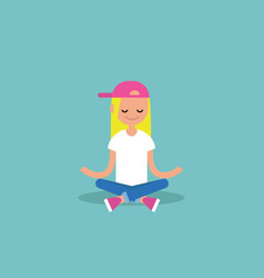 Young blond girl meditating with closed eyes in vector