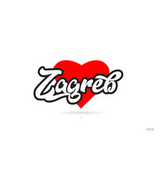 Zagreb city design typography with red heart icon vector