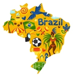 Brazil map with stylized objects and cultural vector