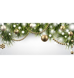 Christmas banner with spruce twigs vector image vector image