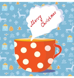 christmas tea cup vector image