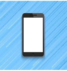 modern smartphone on binary code background vector image vector image