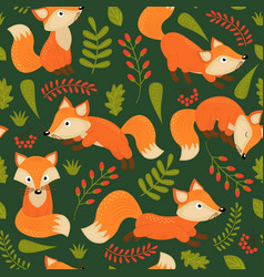 seamless pattern fox on green background vector image vector image