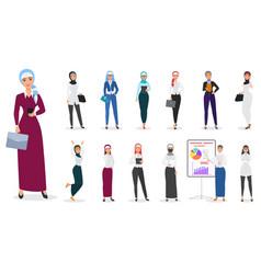 set of muslim arabian business woman vector image