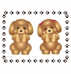 two puppies vector image